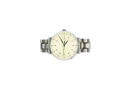 business man watch, luxury watch isolated on a white background. Yellow dial, Black hand, Arabic numbers 13 - 24. v