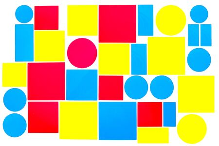 Colorful acrylic background images, blue, yellow, red. Colorful Acrylic Glass Pattern of concept design. Shapes of circles, squares. 写真素材