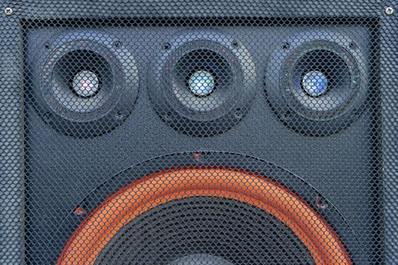 Music and sound comcept. Front view one three bass Subwoofer array loudspeaker enclosure cabinet