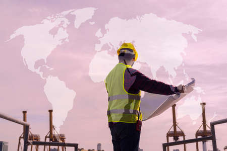 An engineering consultant, a construction site man with a blueprint in his hand International shipping inspector With graphic map