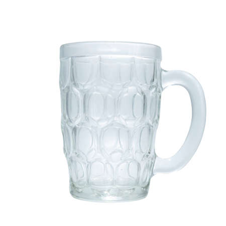 Empty beer glass with handle on white background, isolated