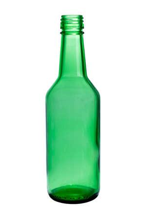 Close-up shot of green plastic bottle on white background.