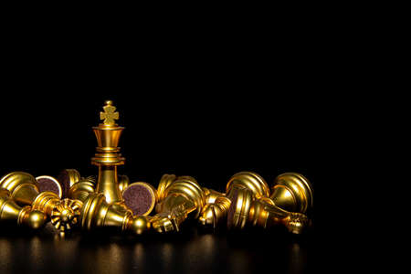 King and Knight of chess setup on dark background. Leader and teamwork concept for success. Chess concept save the king and save the strategy.