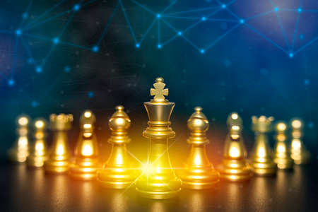 Golden chess pieces isolated on black background. Strategy ideas concept business futuristic graphic icon, black colot tone