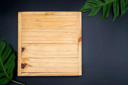 Top view of plank from dark wood, with frame from colorful autumn maple leaves. Copy space. Two tropical jungle monstera leaves isolated on black background 版權商用圖片