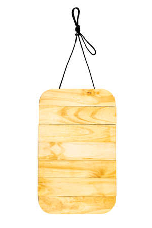 Wooden sign with natural pattern with rope hanging on black space with empty space. 版權商用圖片