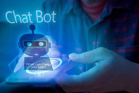 Chatbot assistant conversation, Ai Artificial Intelligence technology concept. Asian man chatting with chatbot via mobile smart phone application with speech bubble on virtual screen 版權商用圖片