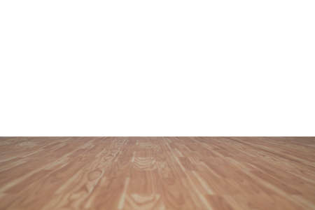 Wood floor perspective view with wooden texture in light brown color isolated on white wall background for room interior design decoration backdrop
