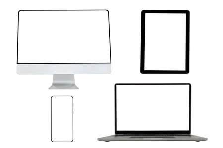 Computer, Laptops, tablets and mobile phones. Mock up image of electronic gadgets isolated on white background.