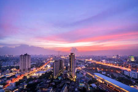 Highway top view of night city and sirat expressway at bangkok, Thailand Stock Photo