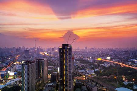 Bangkok cityscape concept, Business district with high building at dusk (Bangkok, Thailand)