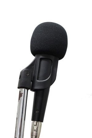 amplified: Microphone on stand isolated on white background Stock Photo