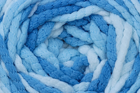 counterpane: Blue knitted wool texture can use as background. Stock Photo