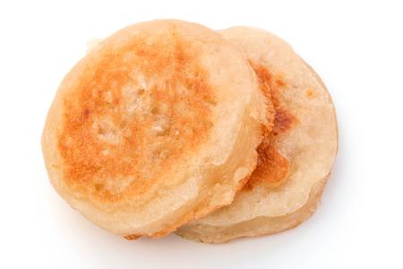 Kanom Babin Thai dessert style pancake made from coconut on white background photo
