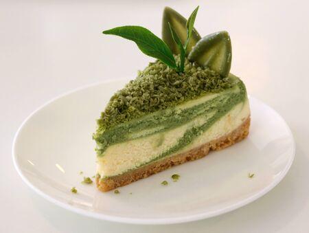 cheese cake green tea on white dish Stock fotó