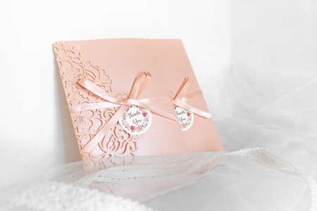 The apricot peach color invitation card for wedding or love card for valentines day gift