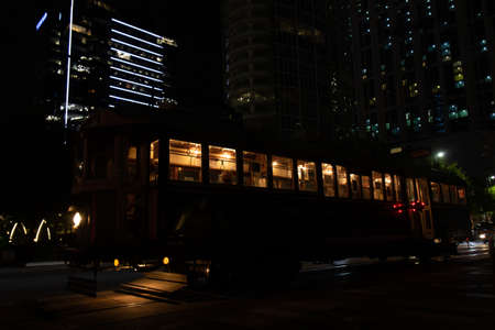 Tram night ride in Dallas downtown