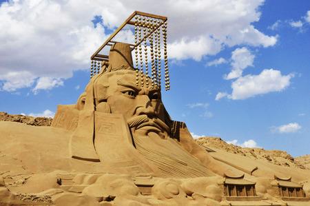 秦の始皇帝の彫刻の横暴 写真素材