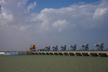 hydropower: The Yellow River hydropower station Stock Photo
