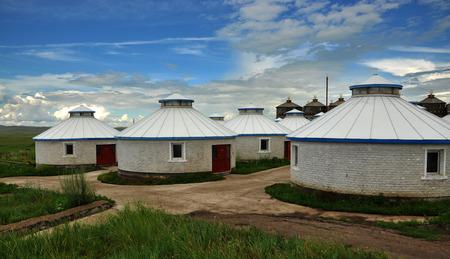 mongolia: Landscape view of mongolia yurts