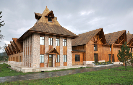 Exterior landscape view of a wooden building at the scenic area