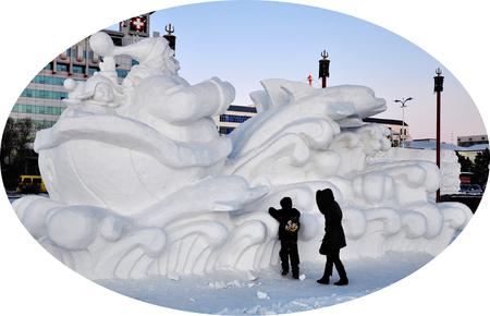 Snow sculpture in a field
