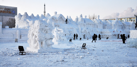 Amazing snow sculptures in an event