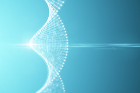 A bright particulate 3D rendered DNA on a blue bokeh background. 3d rendering - illustration.