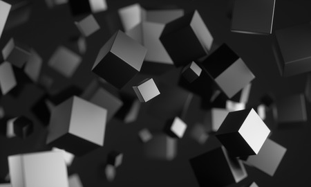 Abstract 3d rendering of chaotic particles. Scifi cubes in empty space. Futuristic background. 3D rendering - Illustration Stock Photo