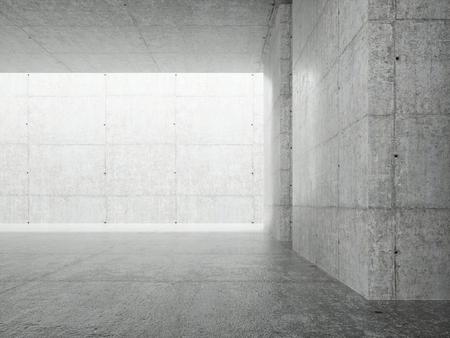 Fondo interior de arquitectura abstracta, sala de hormigón vacía con iluminación en el techo, ilustración 3d - Ilustración.