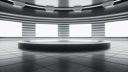 Bright and Sci-Fi technological showroom with blank screen and round stage. Used for background graphic source and template. 3d rendering - illustration. 写真素材