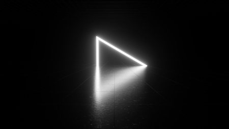Abstract white neon light in a dark black room with reflection. Used for graphic source and background. 3d rendering - illustration.