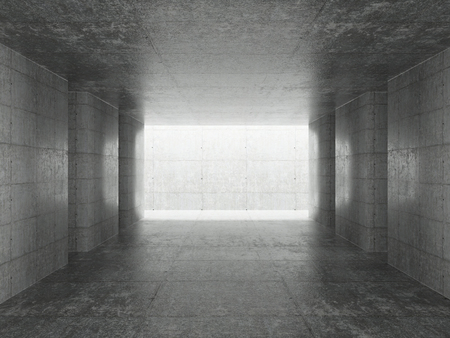 Abstract architecture interior background, empty concrete room with lighting in ceiling, 3d illustration - Illustration.