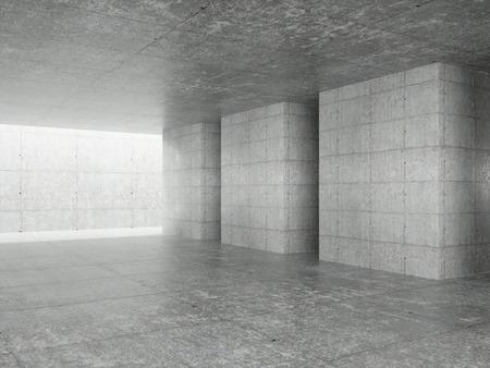 Fondo interior de arquitectura abstracta, sala de hormigón vacía con iluminación en el techo, ilustración 3d - Ilustración. Foto de archivo