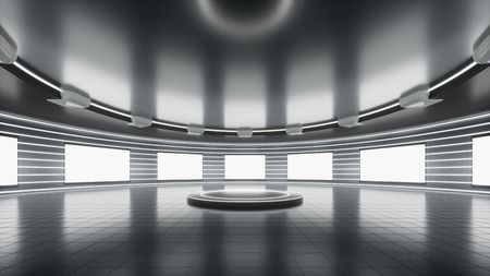 Bright and Sci-Fi technological showroom with blank screen and round stage. Used for background graphic source and template. 3d rendering - illustration. 版權商用圖片