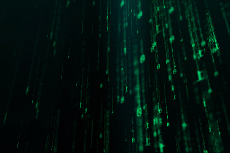 3D illustration of binary data rain with sparkles. used for background. Internet and technology concept - Illustration