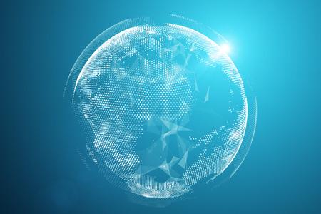 Point de carte du monde, ligne, composition, représentant la connexion au réseau mondial et mondial, signification internationale, concept technologique. Rendu 3D - Illustration