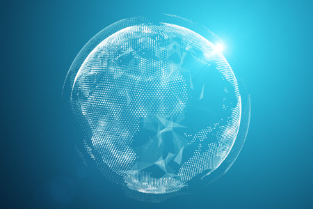 Punto del mapa mundial, línea, composición, que representa la conexión de red global, global, significado internacional, concepto de tecnología. Representación 3D - Ilustración