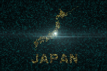 Abstract technology digital backgrounds with the country of Japan map. 3D rendering. - Illustration
