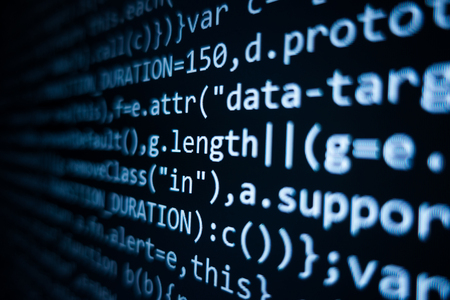 Software source code. Programming code. Programming code on computer screen. Developer working on program codes in office. Source code photo. Technology background. - Image 写真素材