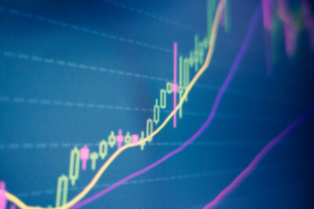 Stock and bitcoin market fluctuation on a screen. Encryption currency prices. - Image