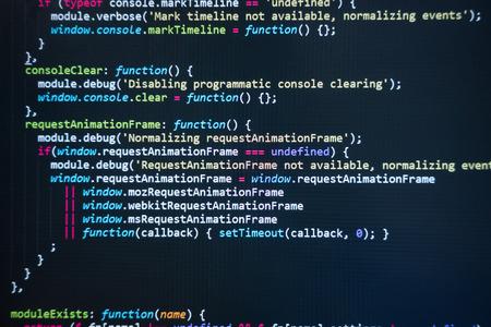 Code source du logiciel. Code de programmation. Code de programmation sur écran d'ordinateur. Développeur travaillant sur des codes de programme au bureau. Photo du code source. Contexte technologique. - Image