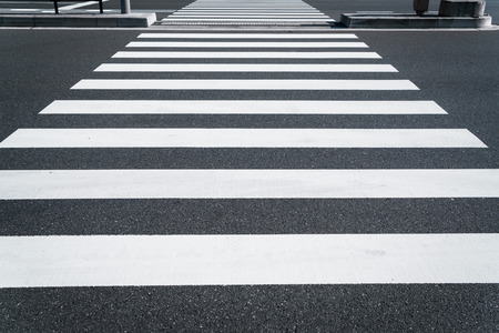 Pedestrian crosswalk and road ground.Used for background and material. - Image Stock Photo