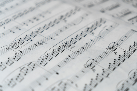 Music score in black and white. Used for background. image.