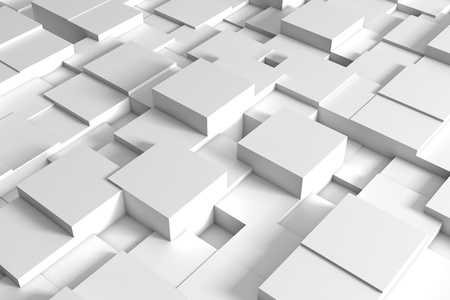 Abstract white squares form a future space. 3d rendering - Illustration