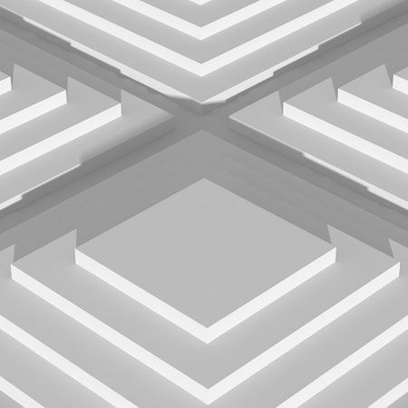 Abstract digital geometric showroom and stage background, empty white stairs with shadow, top view. 3d rendering - Illustration