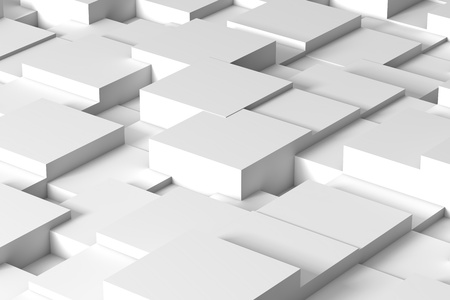Abstract white squares form a future space. 3d rendering - Illustration Stok Fotoğraf - 124267806