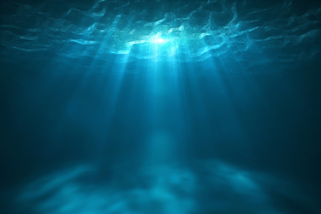 Deep into to sea. Underwater scene with bright beam pass through the surface. 3d rendering - Illustration Stock Photo