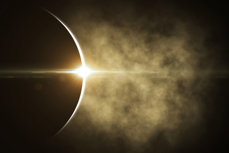 The moon covers the sun in a beautiful solar eclipse. Other color and views available. 3d rendering - Illustration Stok Fotoğraf