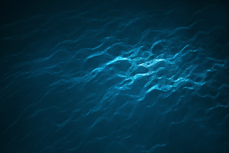 Deep into to sea. Underwater scene with bright beam pass through the surface. 3d rendering - Illustration Banco de Imagens